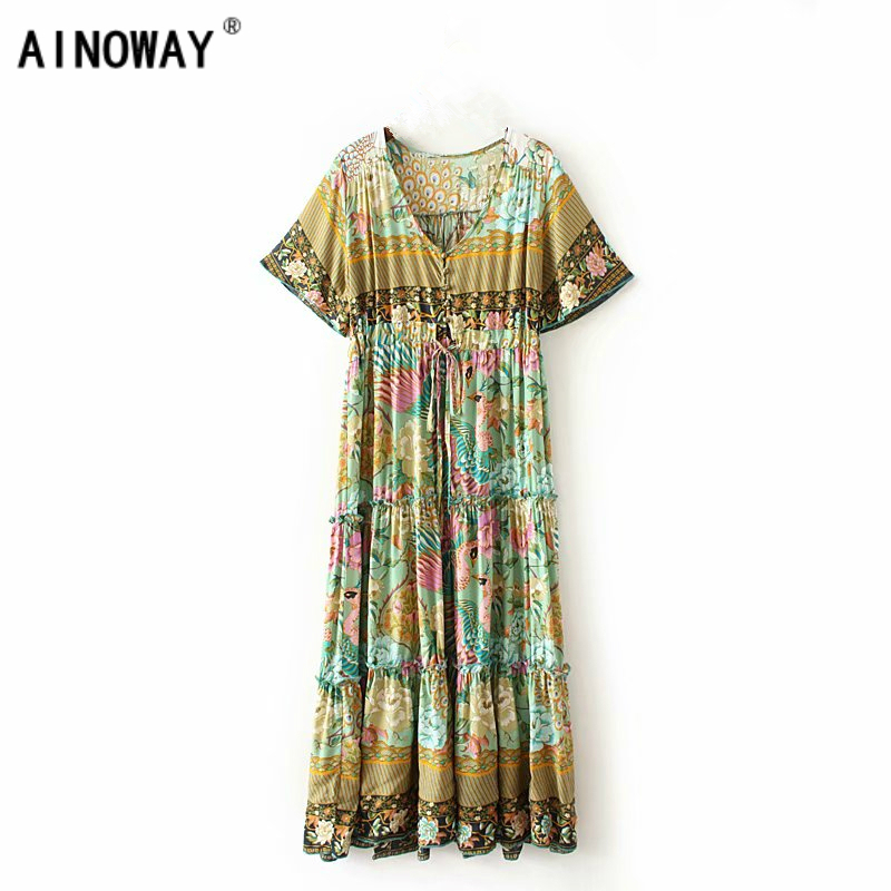 Vintage chic women lace-up floral print sashes beach long Bohemian  midi dress Ladies Summer rayon pleated Boho dress