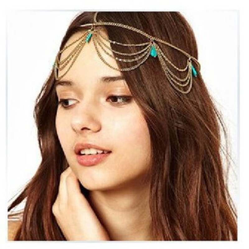 Hair-Chains Headband Jewelry Boho Headpiece Wedding-Bridal Gold/silver-Plated Fashion