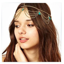 Gold/Silver Plated Head Chains Women Beach Boho Headpiece Headband Wedding Bridal Hair Fashion Jewelry 6 Styles