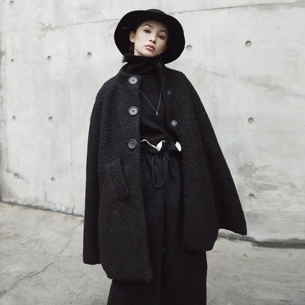 2ccfcd784d4e Cakucool Dark Black Women Winter Cloak Woolen Coat Stand Collar Thicken  Wool Blend Cape Poncho Outerwear Windbreaker Female-in Wool   Blends from  Women s ...