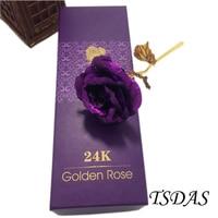 偉大な結婚式の装飾紫色24 kゴールドローズ花恋人のための、ゴールデンローズ決してフェードでゴールデン証明