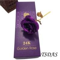 Great Wedding Decor Purple 24K Gold Rose Flower For Lover's, Golden Rose Never Fade With Golden Certificate
