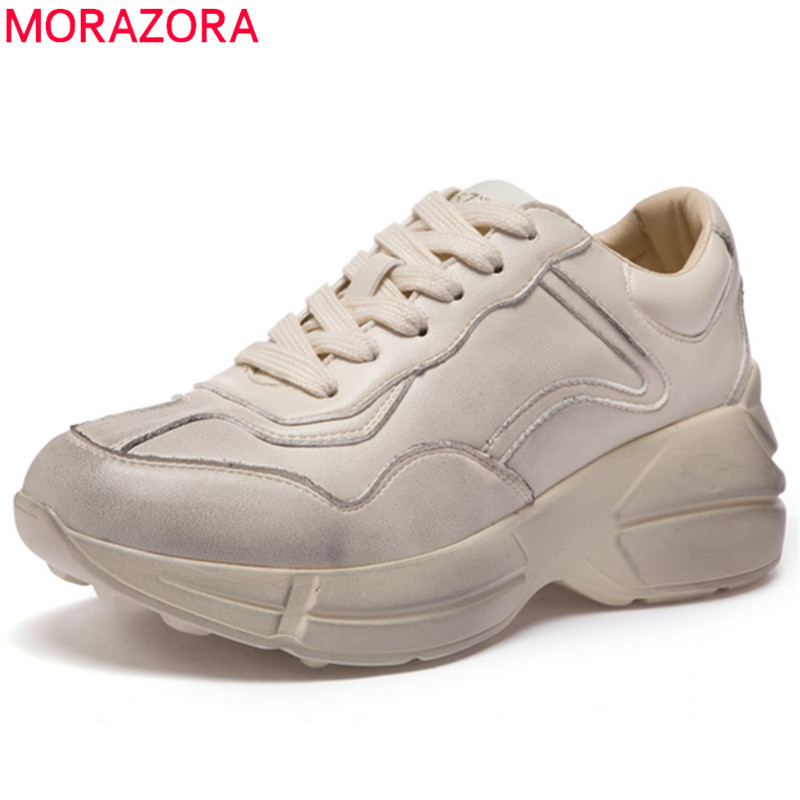 MORAZORA fashion new arrival casual Four seasons shoes round toe lace up flat platform Dad Sneaker shoes genuine leather flats front lace up casual ankle boots autumn vintage brown new booties flat genuine leather suede shoes round toe fall female fashion