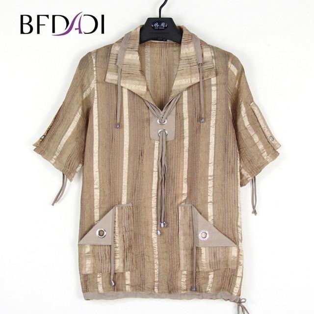 BFDADI 2018 Summer Women T shirt Plus size turn-down collar Cotton linen fabric slightly transparent Drawstring Casual Tops 8780