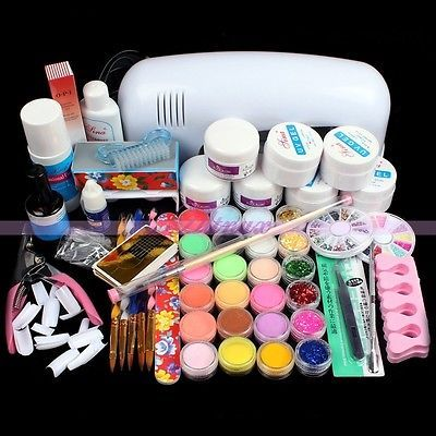 9W 220V White Light Dryer Acrylic Cleanser Plus Glue Topcoat Nail Art Manicure Kits 2015 New Arrival Promotion