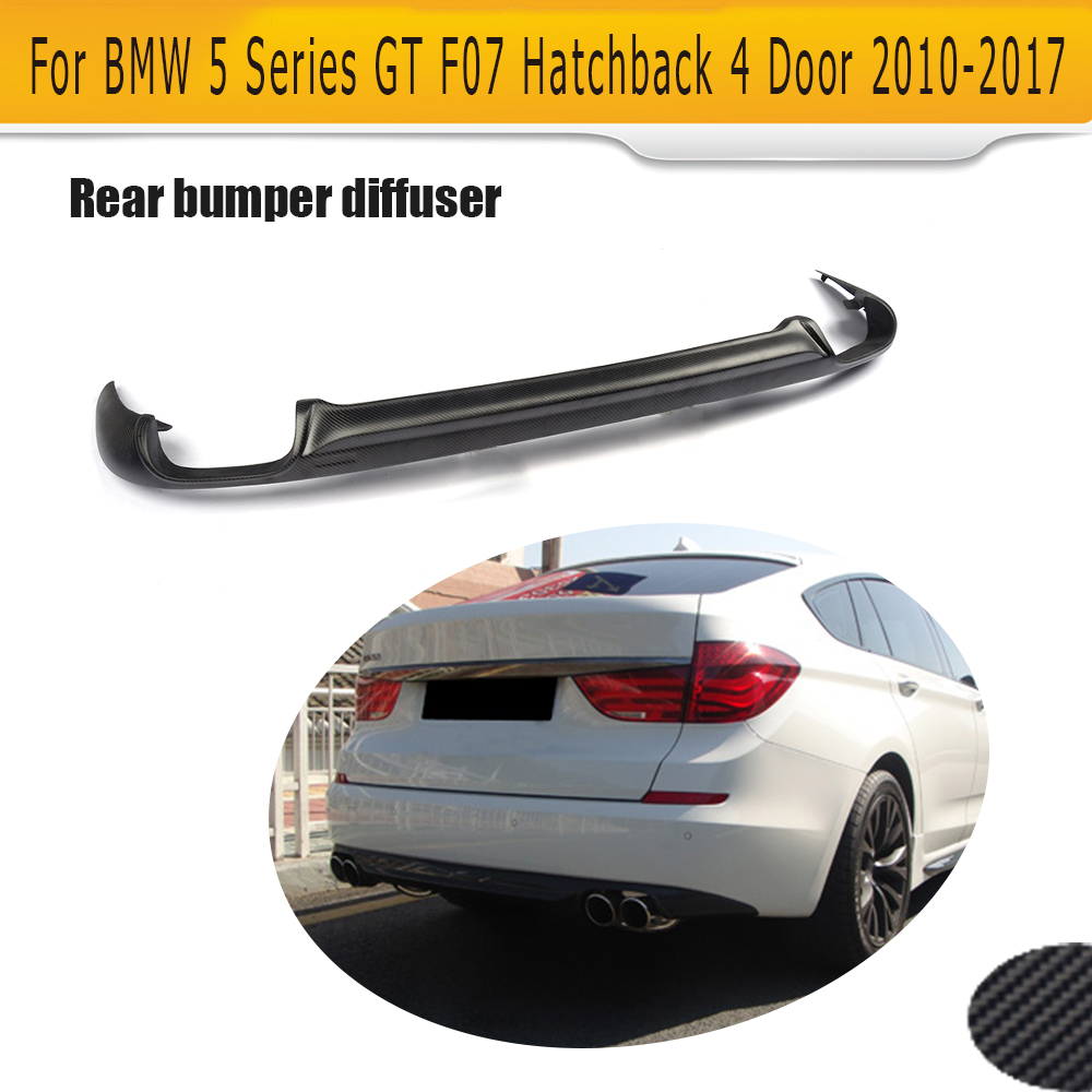 Car Rear <font><b>Bumper</b></font> Diffuser Lip Spoiler for <font><b>BMW</b></font> 5 series <font><b>GT</b></font> <font><b>F07</b></font> Hatchback 4 Door 2010- 2017 550i 535i <font><b>GT</b></font> Black FRP Carbon Fiber Lip image