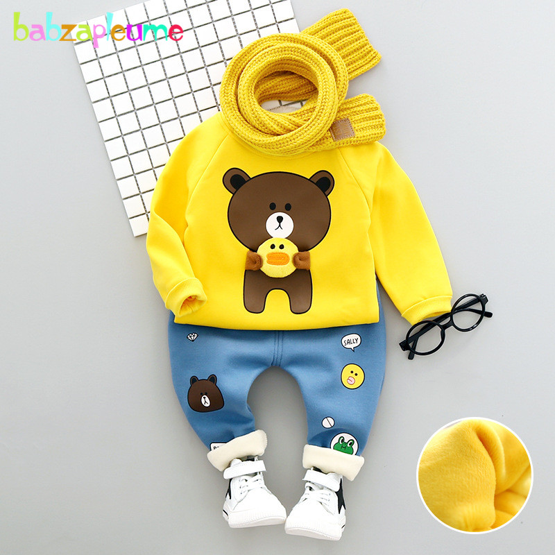 Autumn Winter Newborn Baby Costume Infant Girls Boys Clothes Cartoon Cute Long Sleeve T-shirt+Pants For Kids Clothing Set BC1638