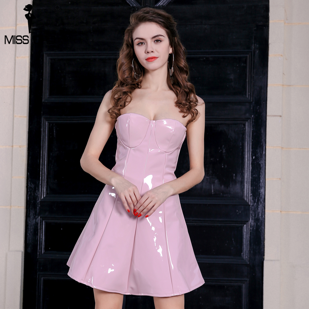 MISS ORD 2018 Sexy latex off the shoulder mini dress party dress ...