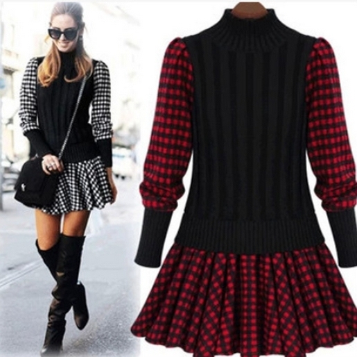 bfad5531cd02b2e New Autumn And Winter Korean Women Slim Plaid Splice England Plaid Dress  Woolen Knit Sweater Dress