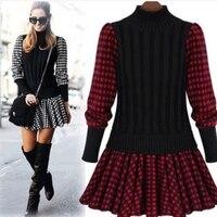 New Autumn And Winter Korean Women Slim Plaid Splice England Plaid Dress Woolen Knit Sweater Dress