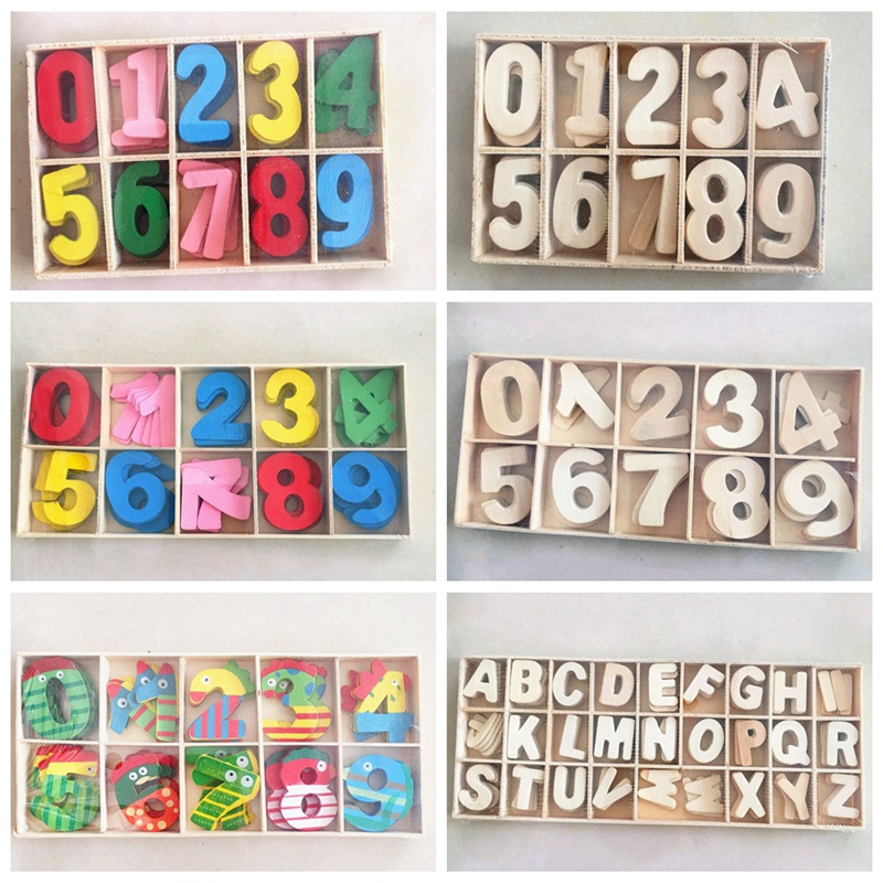 Wooden Letter Numbers Boxed Creative Educational DIY Craft Decoration Kids Education Toys Gift Colourful AAA0393