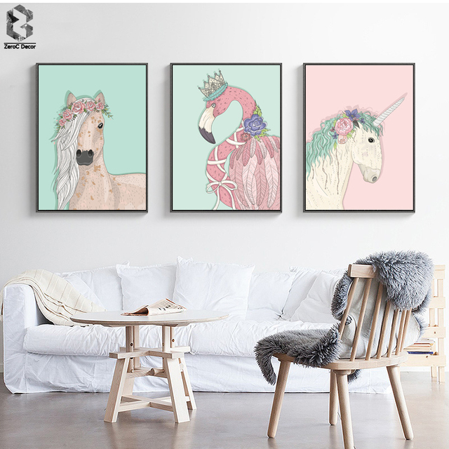 Queen flamingo girls room decor poster and print wall art canvas paintings for living room decor for Canvas prints childrens bedrooms