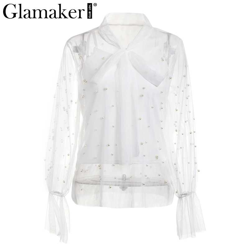 01b7a48400dad6 ... Glamaker Sexy transparent mesh blouses shirts Elegant pearl lace up  blouse women tops summer casual two ...