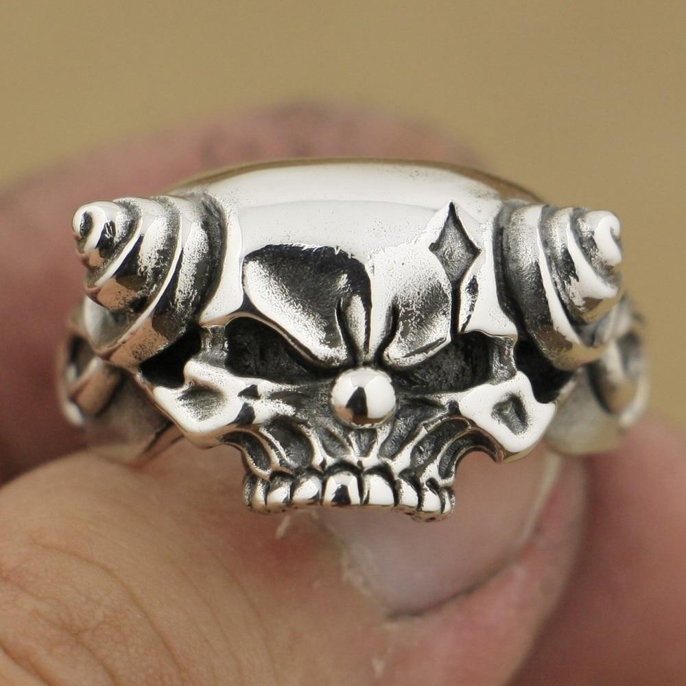 LINSION 925 Sterling Silver Handmade Joker Skull With Horn Mens Biker Punk Ring TA79 US Size 7~15 handmade 925 sterling silver joker skull ring mens biker rock punk ring ta78a