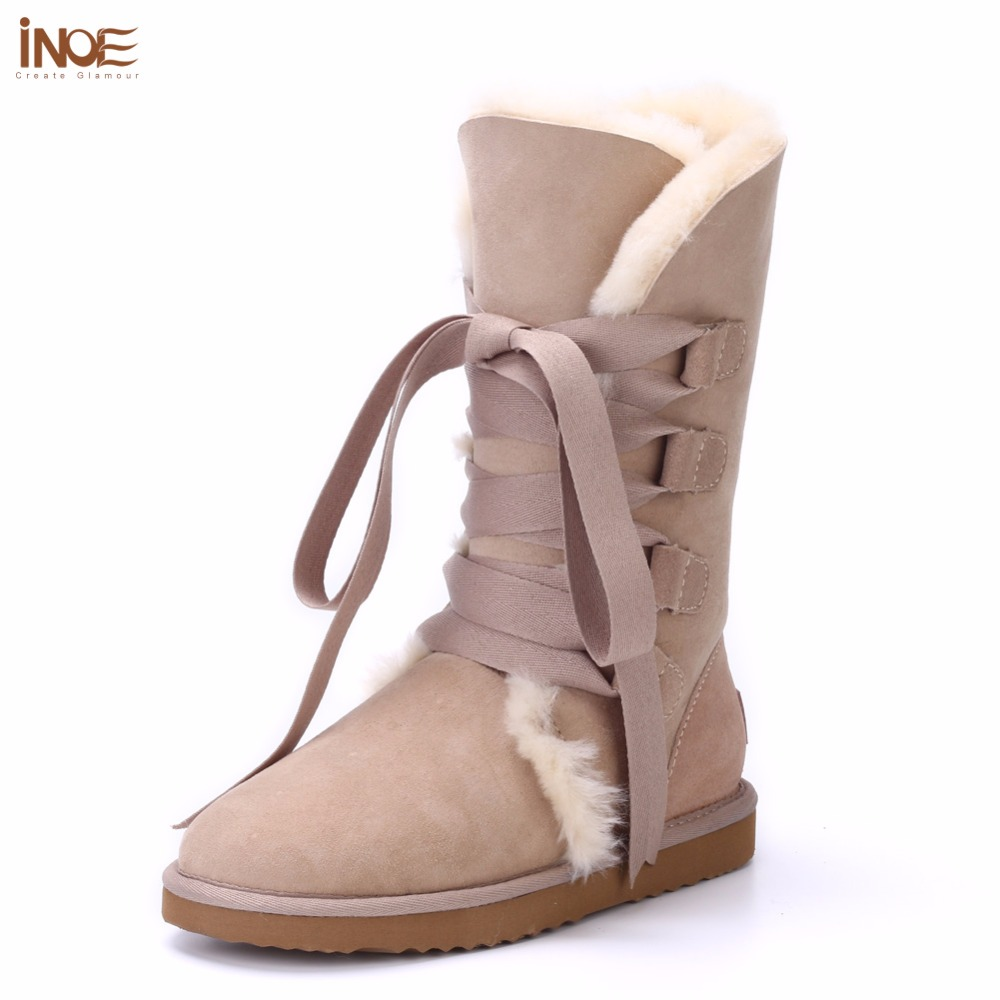 INOE Fashion women lace up winter high snow boots real sheepskin leather nature fur lined winter flats shoes bowknot black brown