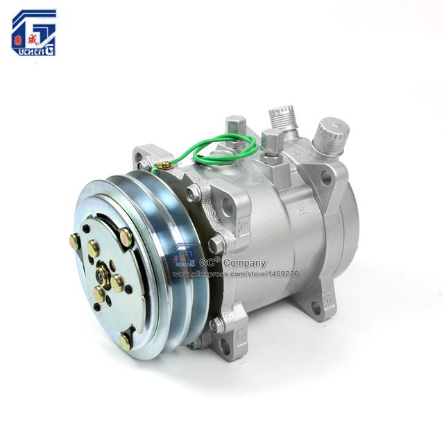 A/C AC Air Conditioning Compressor SD507 5H11 12V / 24V 2A V Belt Pulley Tractor Excavator Heavy Duty Truck Pickup Universal