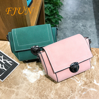 FJUN Casual Japan And South Korea Wild Cover PU Shoulder Bag Diagonal Portable Platinum Bag 2018