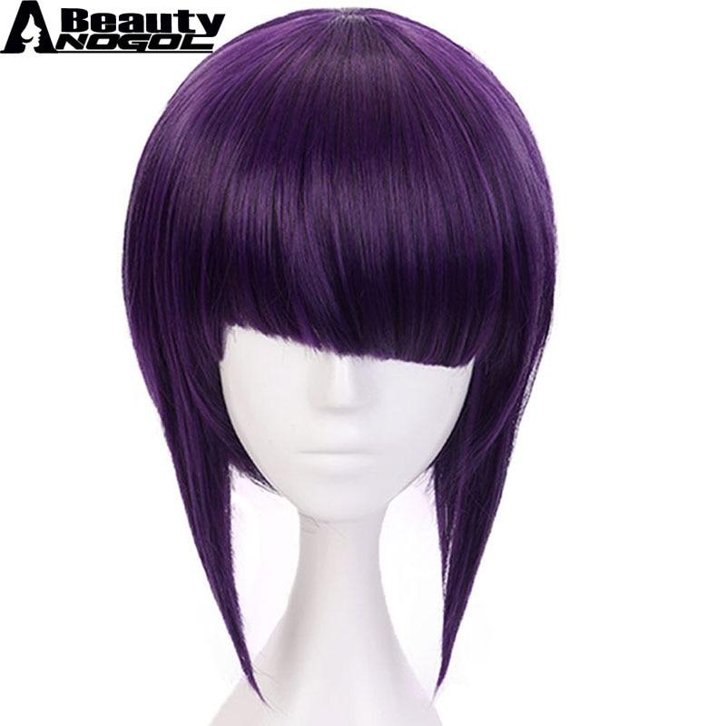 ANOGOL BEAUTY Anime My Hero Academy Short Straight Kyoka Jiro Short Straight Bob Purple Synthetic Cosplay Wig For Costume Fringe