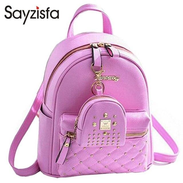 Sayzisfa New 2018 Women Backpack Leather Las Shoulder Bags S School Book Bag Pink Backpacks Mochila