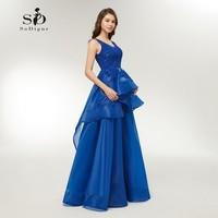 Encaje Vestido de Noche 2018 Largo Azul Real Vestido Más El Tamaño de vestido de fiesta Por Encargo A-line de la Nueva Llegada Del Partido de tarde