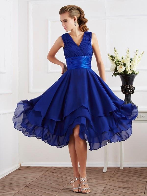 2015 Royal Blue Knee Length Chiffon Bridesmaid Dresses V