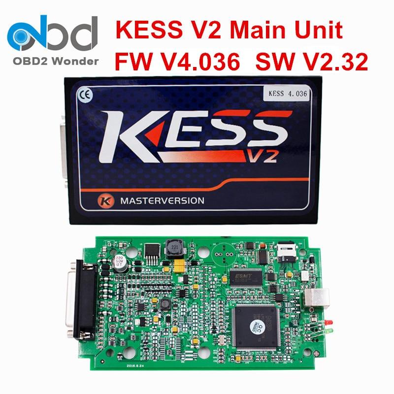 Цена за Высокое качество KESS V2 мастер V4.036 Основной блок OBD2 менеджер Тюнинг Комплект Программное обеспечение V2.32 Нет Жетоны Ограничение KESS Основной блок нет кабель