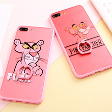 SoCouple Cell Phone Case For iphone 7 6 6s 6/7/8 plus 8 Ring Grip Retro Hollow Relief Pink Panter Pattern Phone Case