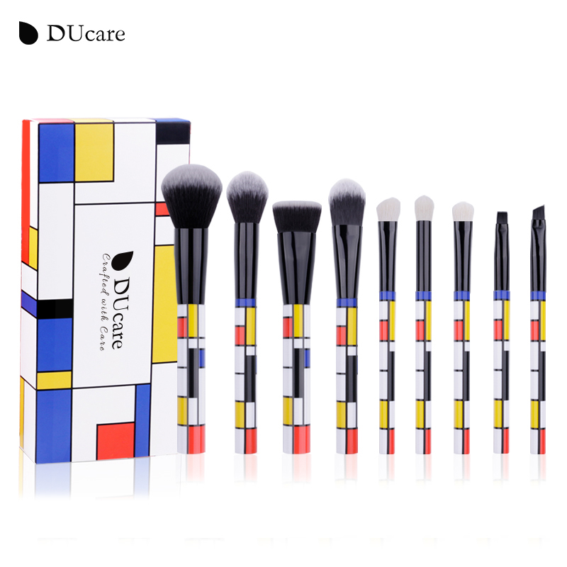 DUcare 9 PCS Makeup Brushes Kabuki Foundation Eyeshadow Blending Powder Brush Goat Hair Make Up Brushes Cosmetic Tools Set pro 11pcs mermaid makeup brush set big fish tail foundation powder make up tools eyeshadow contour blending cosmetic fan brushes