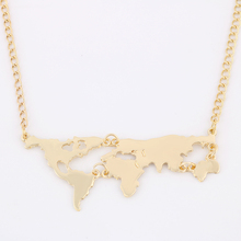 Jewelry fine мира золотой кулон карта ожерелье цвет женщин для