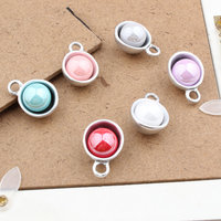 Wholesale 40PCs Lot 15 22MM AB Colors Arylic Alloy Caps DIY Jewelry Charms Dull Silver Tone