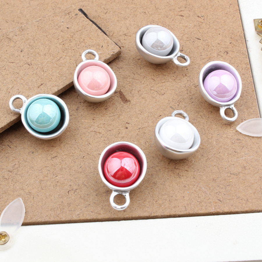 Wholesale 40PCs/Lot 15*22MM AB Colors Arylic Alloy Caps DIY Jewelry Charms Dull Silver Tone Metal Bracelet Necklace Metal Charm