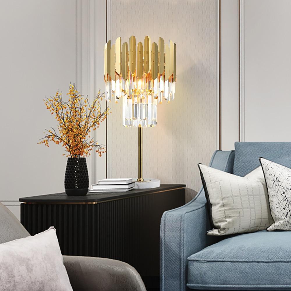 AULEEZE Modern Luxury LED Table Lamp Gold Polished Steel Crystal Desk Decor Light  2