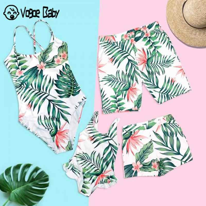 Mother Kids Outfits Matching Swimsuit Tropical Leaf Print Swimsuit Mother Daughter Men Boy Beach Shorts Family Matching Swimwear