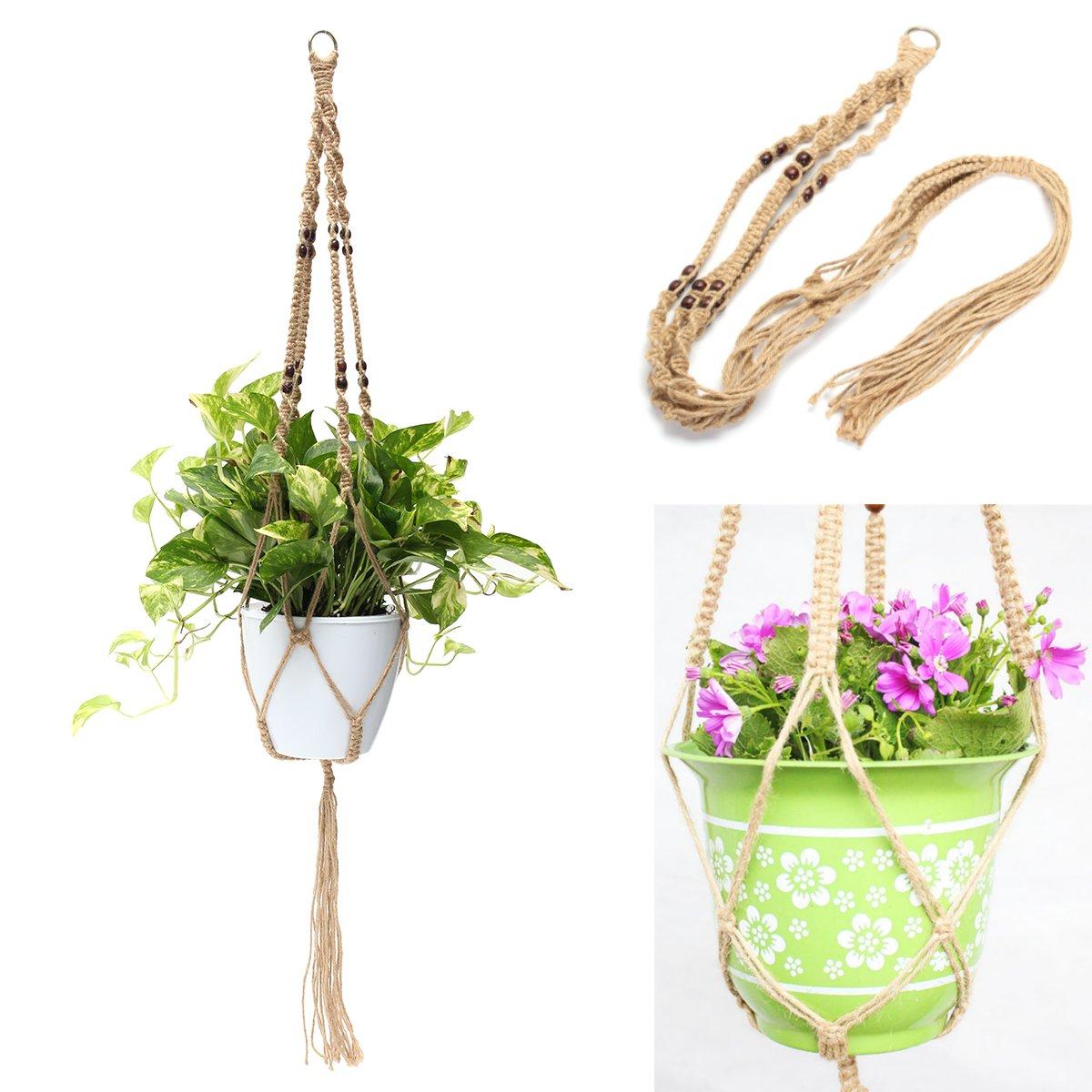 KiWarm Top Quality Plant Hanger Macrame Jute Rope Hanging Pots Basket Planter Holder Balcony Macrame Cord Rope