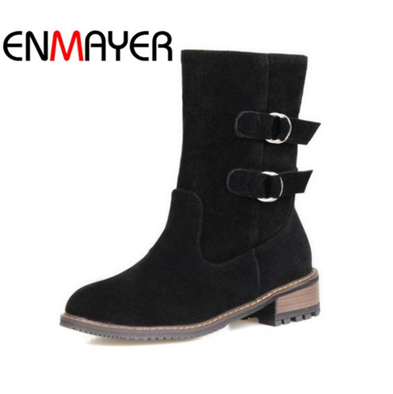 ФОТО ENMAYER black Beige Yellow Hot Shoes Women Flock Buckle Autumn Winter Boots New Med 3 color Motorcycle boots For Women Big Size