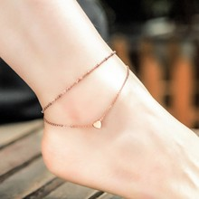 Bracelet Foot Vintage Design Hearts Pendant Rose Gold Plated Anklet Beads Stainless Steel Ankle Bracelet Jewelry