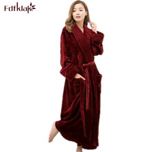Long Bathrobe Home Wear Clothes Dressing Gown Women's Bathrobe Coat Female Flannel Nightdress Women Warm Bath Robes E1026(China)