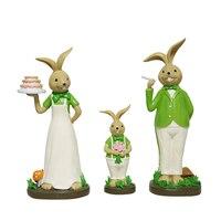 3 шт./компл. Европа Смола кролики синий зеленый Сказочный Сад, миниатюра фигурки настольная arts и ремесла аксессуары для дома свадебный подар...