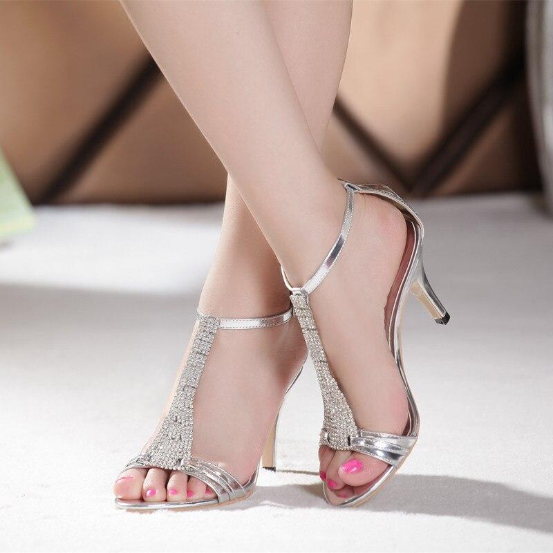 Aliexpress.com : Buy 2015 sexy rhinestone sandals silver leg strap