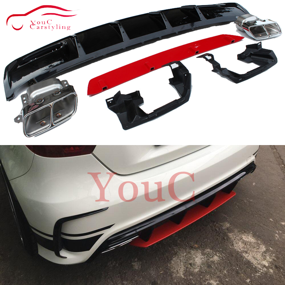 W176 Rear Bumper Diffuser with Red Lip & 4-outlet Exhaust Tips 304 Stainless Steel for Mercedes A45 AMG Package 2013 -2018