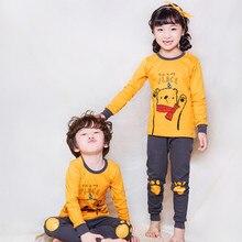 Комплект детского термобелья с рисунком медведя, теплые подштанники для малышей, осенняя хлопковая одежда для сна, тренировочный костюм для мальчиков и девочек