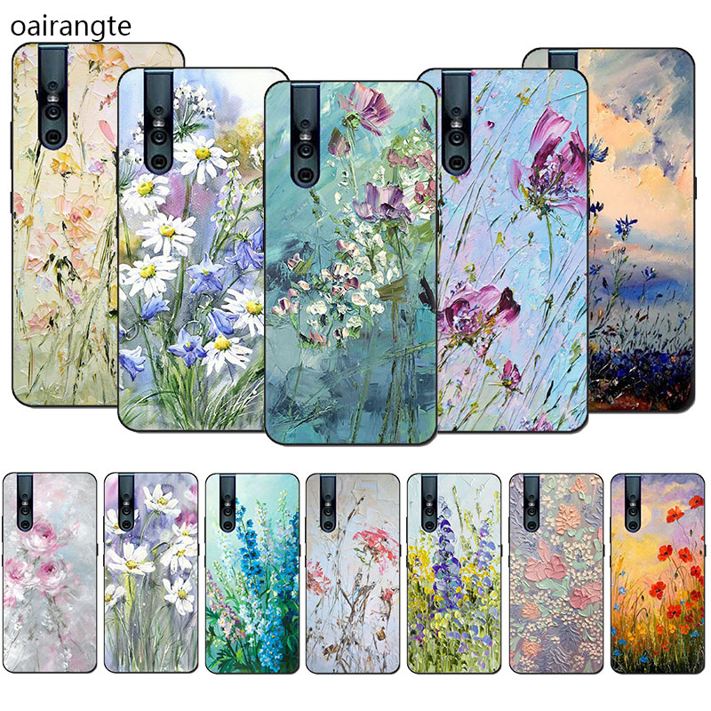 Silicone Phone <font><b>Case</b></font> Oil Painting Flowers for <font><b>VIVO</b></font> V15 V11 Pro V9 V7 V5 Y17 Y55s Y69 <font><b>Y71</b></font> Y81s Y91C Y93 Y66 X9s Half-wrapped <font><b>Case</b></font> image