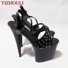 Женские пикантные вечерние туфли на высоком каблуке; босоножки на высоком каблуке 20 см, декорированные заклепками; танцевальная обувь