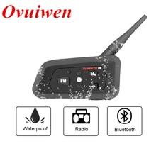 OVUIWEN R8 1200M Buletooth Motorcycle Intercom Helmet Headset Radio Bluetooth Motorbike Communicator MP3 Mobile