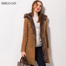 Womens Winter Light Brown Wool Jacket Coats Thick Parkas Plus Size Real Rabbit Collar Rabbit Fur Lining Long Outwear Fur Coat