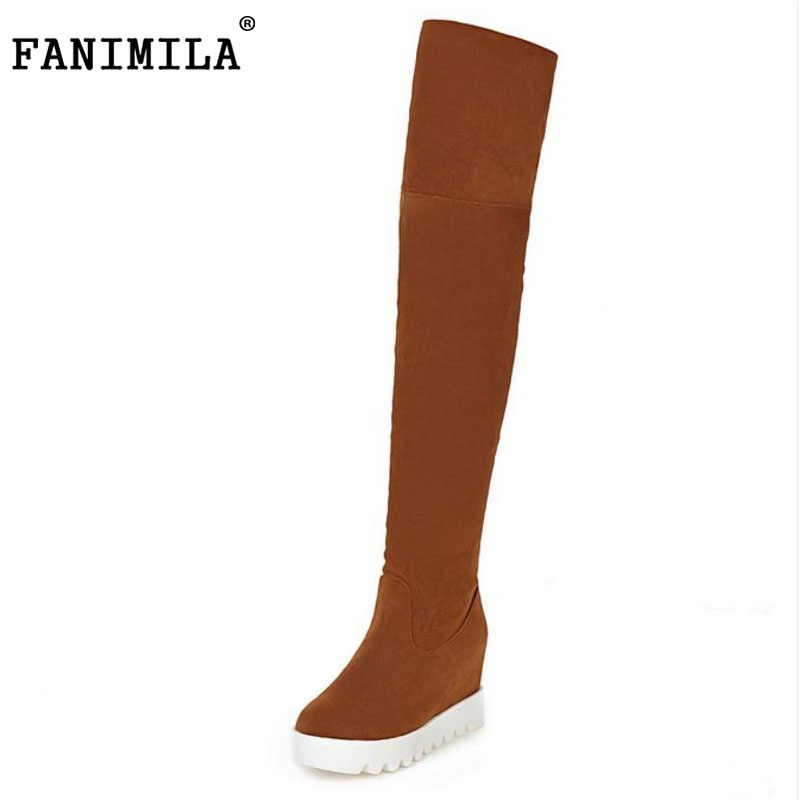 FANIMILA women wedge over knee boot snow fashion winter warm long boots knight botas masculina quality