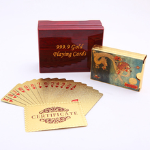 Dragon Playing Cards Packing Wooden Box Waterproof Plastic Card Poker Durable Creative Gift