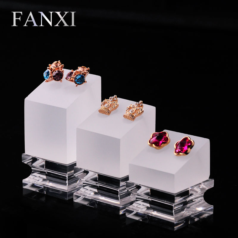 FANXI Fashion Acrylic Earring Display Stand Set with 3 Holders Clear Matte Jewelry Display Prop Ear Nails Organizer Exhibitor in Jewelry Packaging Display from Jewelry Accessories