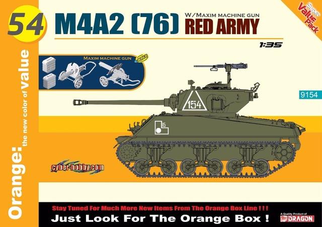 Dragão 9154 1/35 m4a2 (76) do exército vermelho + maxim machine gun (orange box)