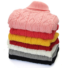 2016 winter Hot Sale Infant Baby Boys Girls Children Kids Knitted Autumn Pullovers Turtleneck Warm Outerwear Sweaters 1-12 year
